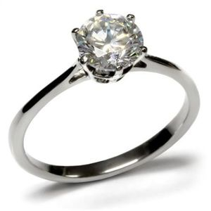 Stainless Steel CZ Solitaire Engagement Ring